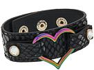 Betsey Johnson - Black Leather Bracelet with Oil Slick Heart