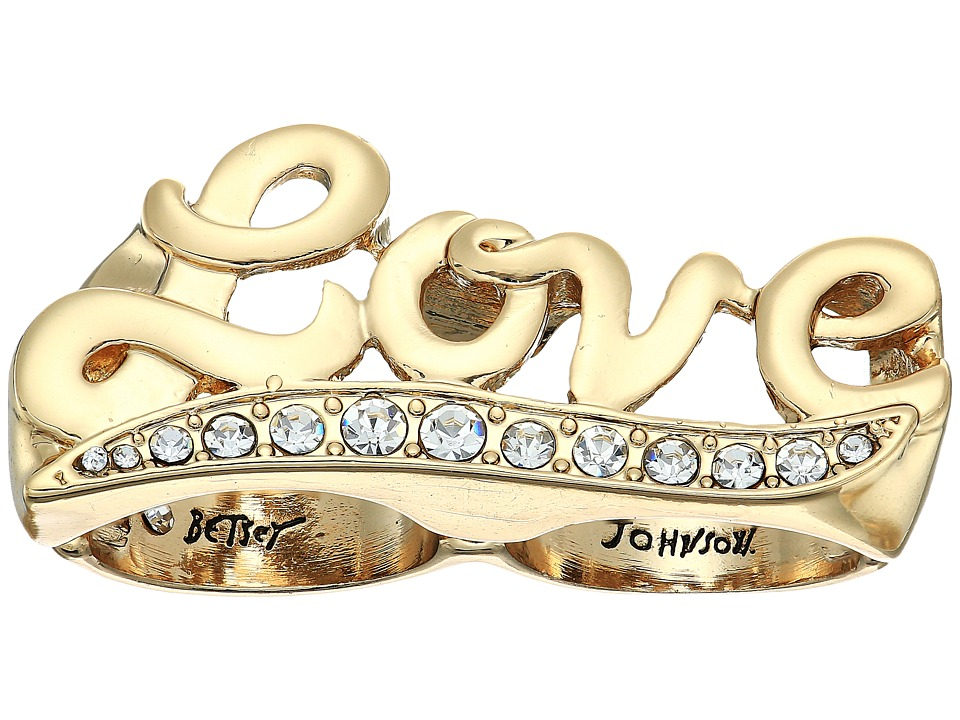 Betsey Johnson - Crystal and Gold Love Double Ring