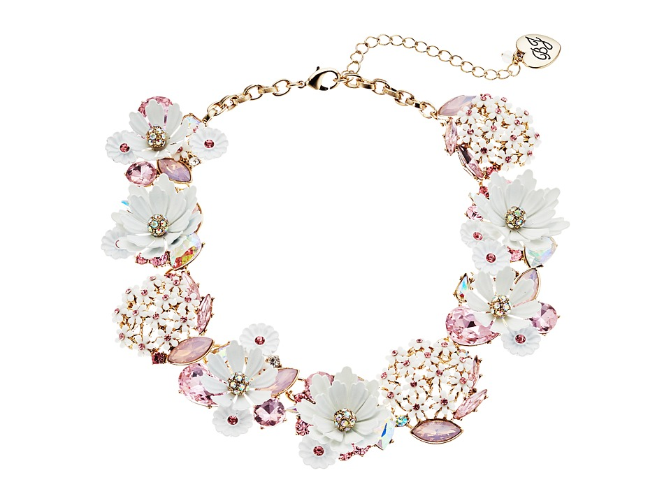 Betsey Johnson - Flower Faceted Stone Cluster Frontal Necklace