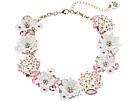 Betsey Johnson - Flower & Faceted Stone Cluster Frontal Necklace