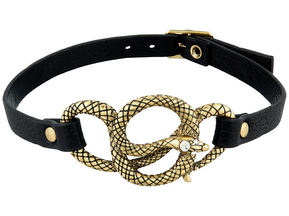 Betsey Johnson - Black Leather and Gold Snake Choker Necklace