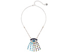 Betsey Johnson Multicolor and Faceted Stone Evil Eye Pendant Necklace