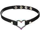 Betsey Johnson - Black Leather Choker Necklace with Oil Slick Heart