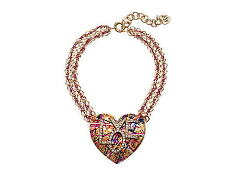 Betsey Johnson Gold and Pink Chain with Grafiti Love Pendant Necklace - Multicolor