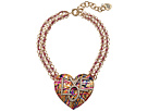 Betsey Johnson - Gold and Pink Chain with Grafiti Love Pendant Necklace