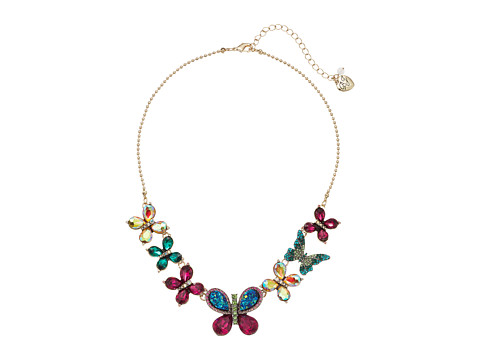 Betsey Johnson Multicolor Stone Butterfly Necklace - Multicolor