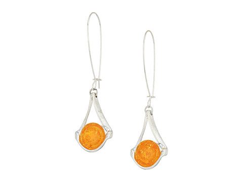 Robert Lee Morris Silver Earrings with Amber Stone - Amber