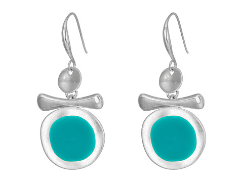 Robert Lee Morris Silver and Teal Enamel Earrings - Teal