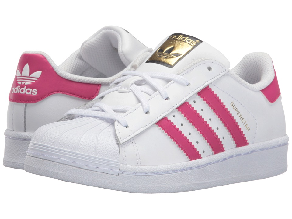 adidas Originals Kids - Superstar (Little Kid) (White/Bold Pink/White) Girls Shoes