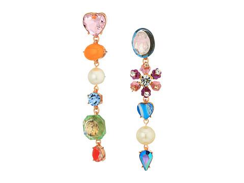 Betsey Johnson Multi-Charm Drop Earrings - Multicolored