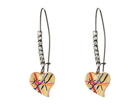 Betsey Johnson Heart Drop Earrings - Multicolor