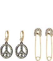 Betsey Johnson - Safety Pin and Peace Sign Drop Earrings