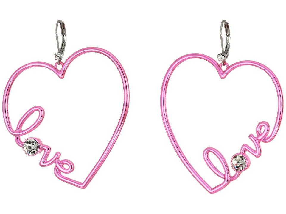 Betsey Johnson - Blue and Crystal Heart Earrings