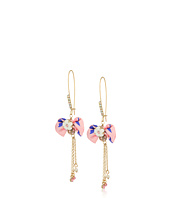 Betsey Johnson - Pink Bow and Gold Drop Earrings