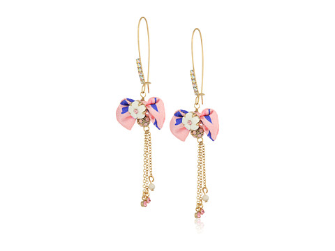 Betsey Johnson Pink Bow and Gold Drop Earrings - Pink