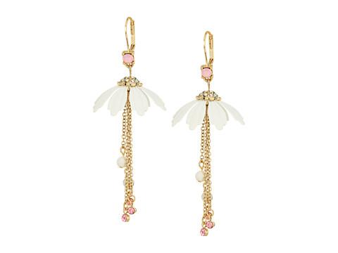 Betsey Johnson Flower & Chain Drop Earrings - White/Pink