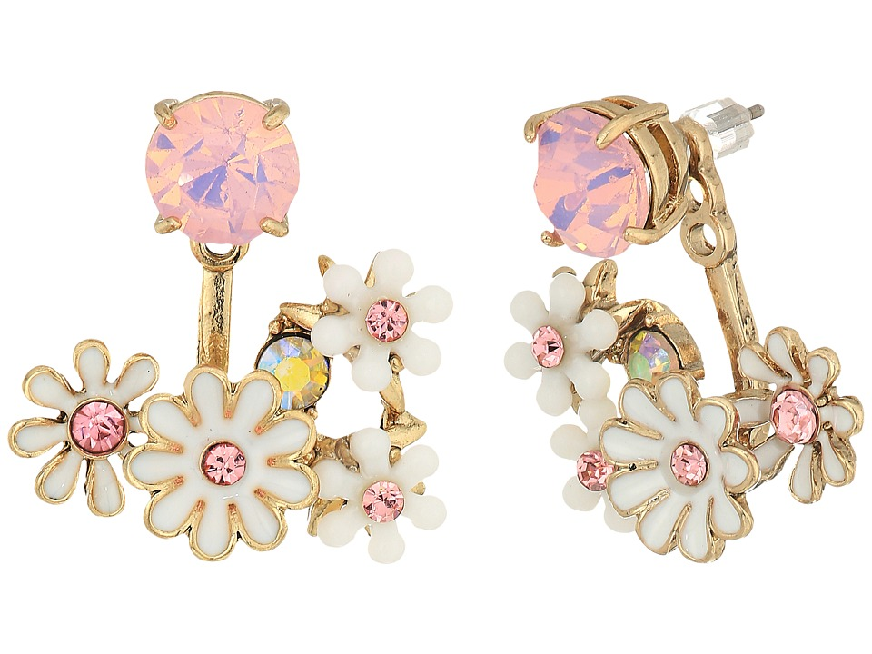 Vintage Style Jewelry, Retro Jewelry Betsey Johnson - Flower Cluster Earrings Jacket WhitePink Earring $30.99 AT vintagedancer.com