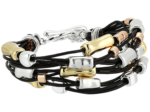 Robert Lee Morris Leather and Metal Bracelet - Tri-Tonal
