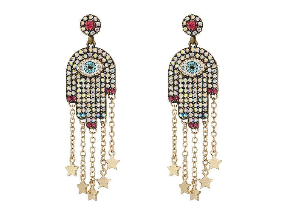 Betsey Johnson - Multi-Stone and Gold Hamsa Drop Earrings