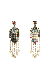 Betsey Johnson - Multi-Stone and Gold Hamsa Drop Earrings