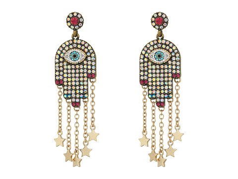 Betsey Johnson Multi-Stone and Gold Hamsa Drop Earrings - Multicolor