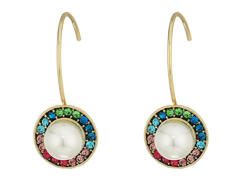 Betsey Johnson - Multicolor Stone and Pearl Drop Earrings