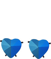 Betsey Johnson - Blue Heart Clip Earrings