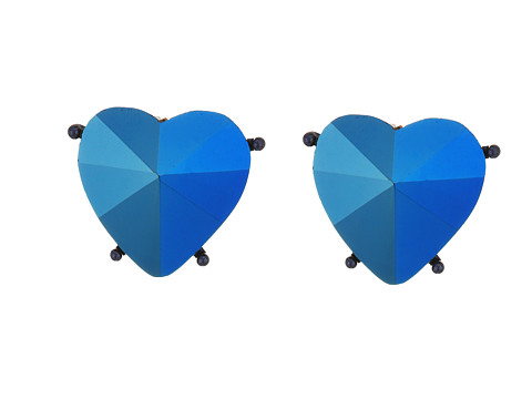 Betsey Johnson Blue Heart Clip Earrings - Blue