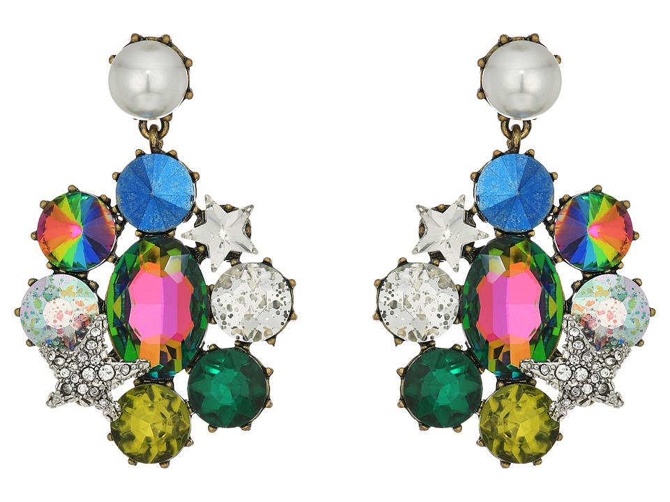Betsey Johnson - Multi-Stone and Pearl Clip Drop Earrings (Multicolor) Earring
