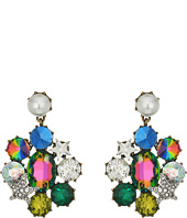Betsey Johnson - Multi-Stone and Pearl Clip Drop Earrings