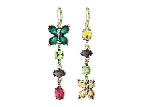 Betsey Johnson Colorful Butterfly Linear Earrings - Multicolor