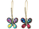 Betsey Johnson - Multicolor Butterfly Drop Earrings