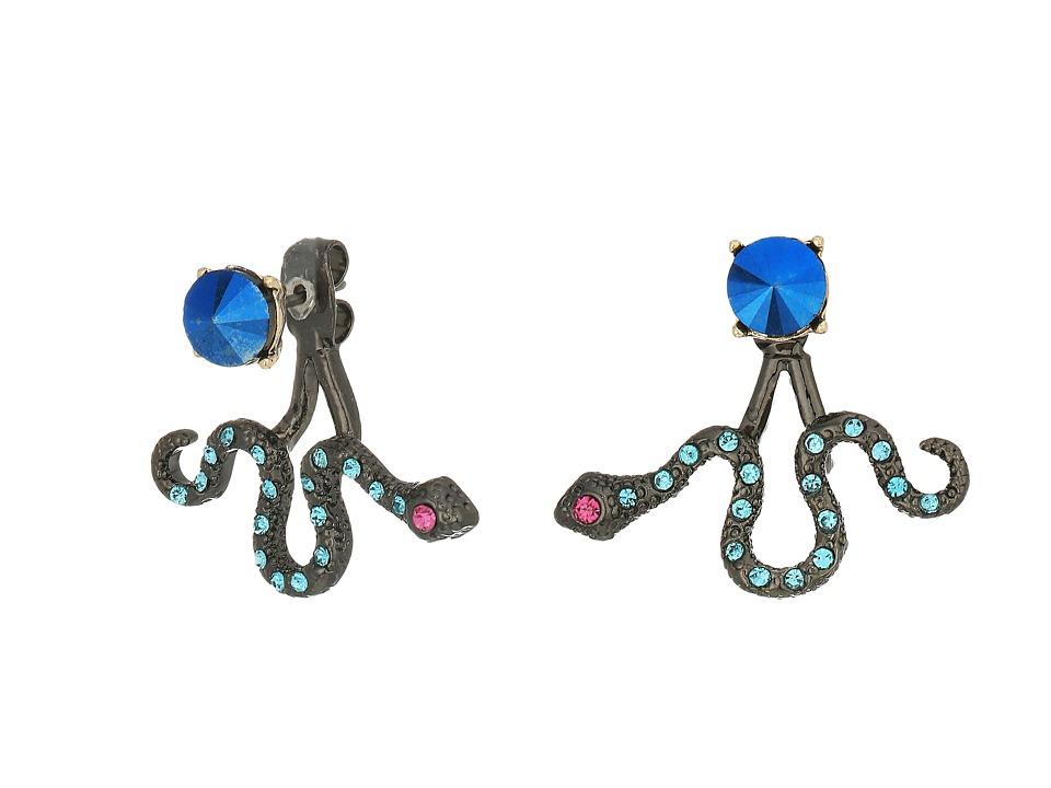 Betsey Johnson - Blue and Gold Snake Front Back Earrings