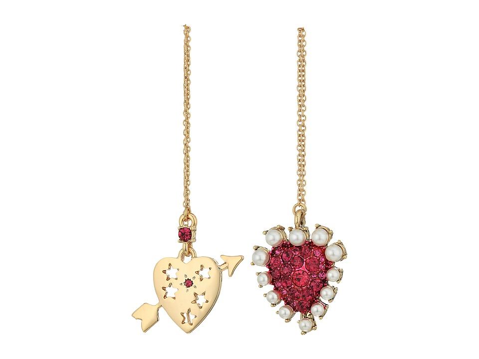 Betsey Johnson - Fuchsia and Gold Heart Non-Matching Earrings