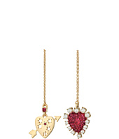 Betsey Johnson - Fuchsia and Gold Heart Non-Matching Earrings