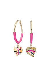 Betsey Johnson - Pink and Gold Heart Hoop Earrings