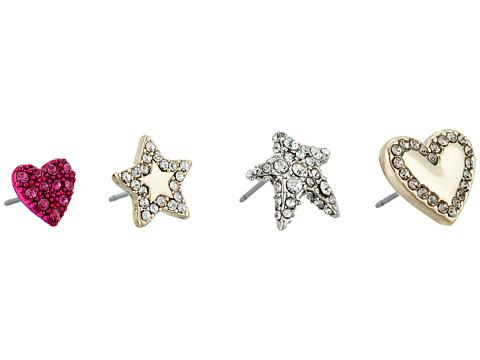 Betsey Johnson Hearts and Stars Earrings Set - Multicolor