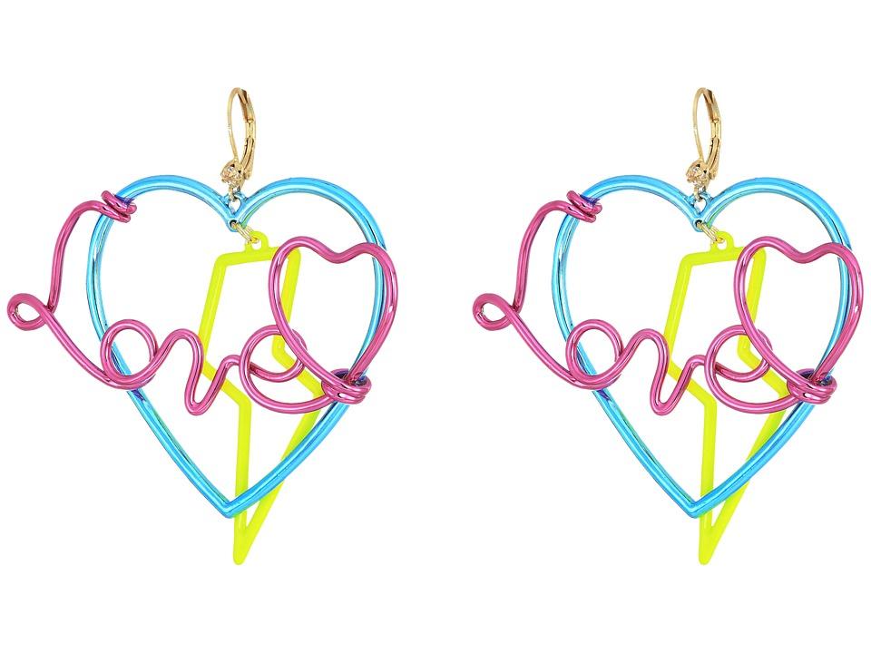 Betsey Johnson - Multicolor Love Drop Earrings