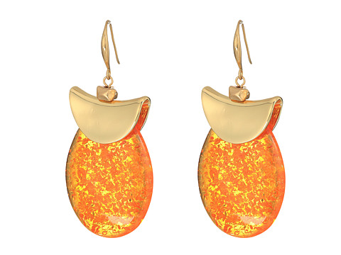 Robert Lee Morris Silver and Amber Drop Earrings - Amber