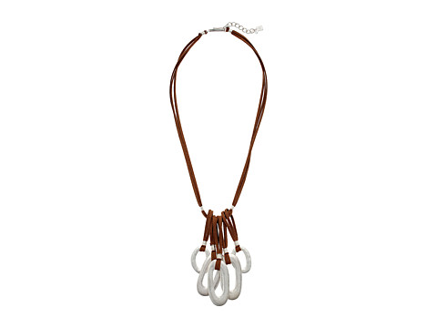 Robert Lee Morris Brown Leather and Silver Frontal Necklace - Brown