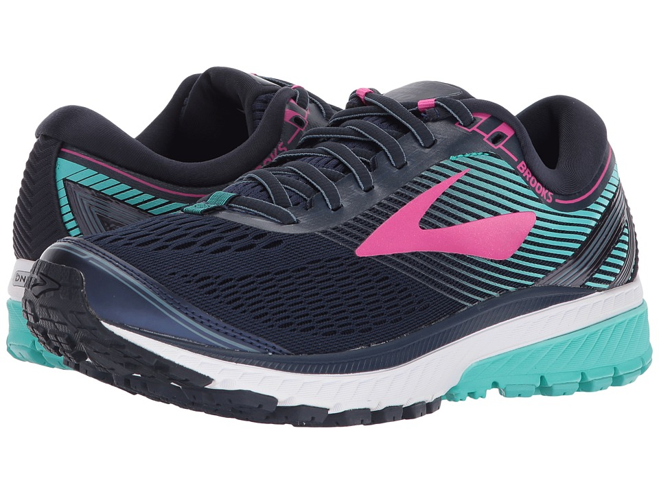 Brooks - Ghost 10 (Navy/Pink/Teal Green) Womens Running Shoes