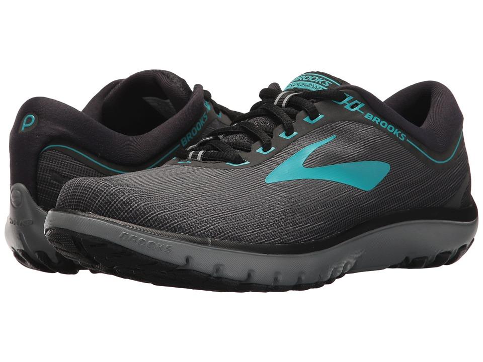 Brooks - PureFlow 7 (Grey/Black/Green) Womens Running Shoes