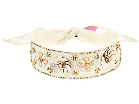 Betsey Johnson Beaded Blooms Choker - Ivory