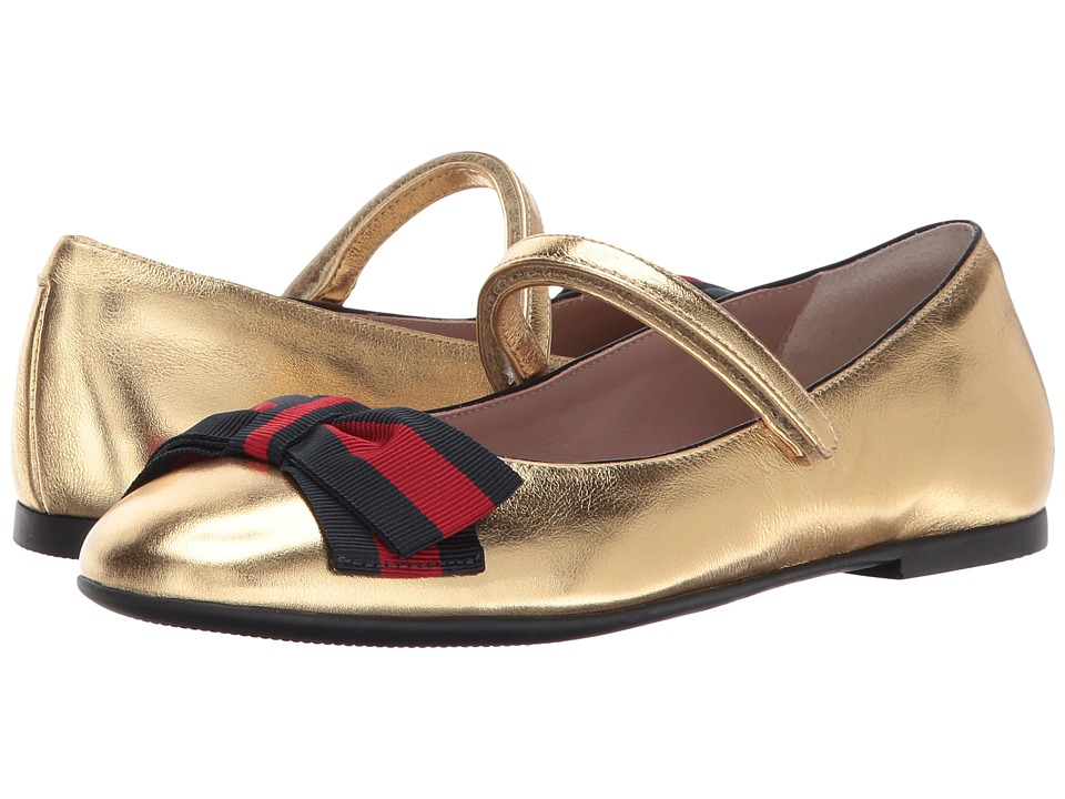 Gucci Kids Cindy Ballerina (Little Kid/Big Kid) (Oro/Gold) Girls Shoes