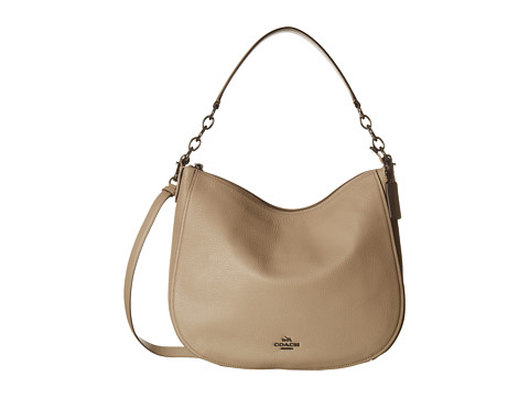 COACH Polished Pebbled Leather Chelsea 32 Hobo - DK/Stone