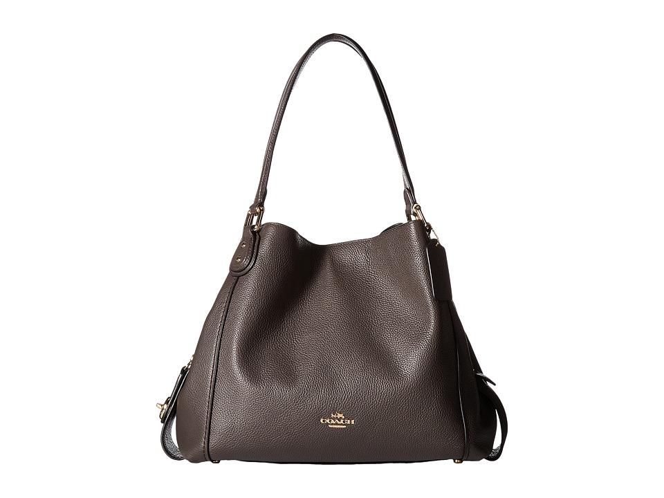COACH - Polished Pebbled Leather Edie 31 Shoulder Bag (LI/Chestnut) Handbags