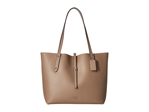 COACH Polished Pebbled Leather Market Tote - SV/Stone Dusty Rose