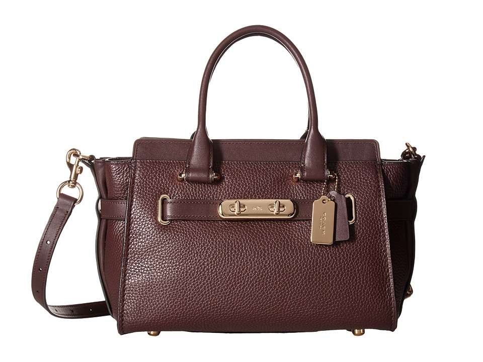 COACH - Coach Swagger Carryall 27 In Pebble Leather (LI/Oxblood) Handbags