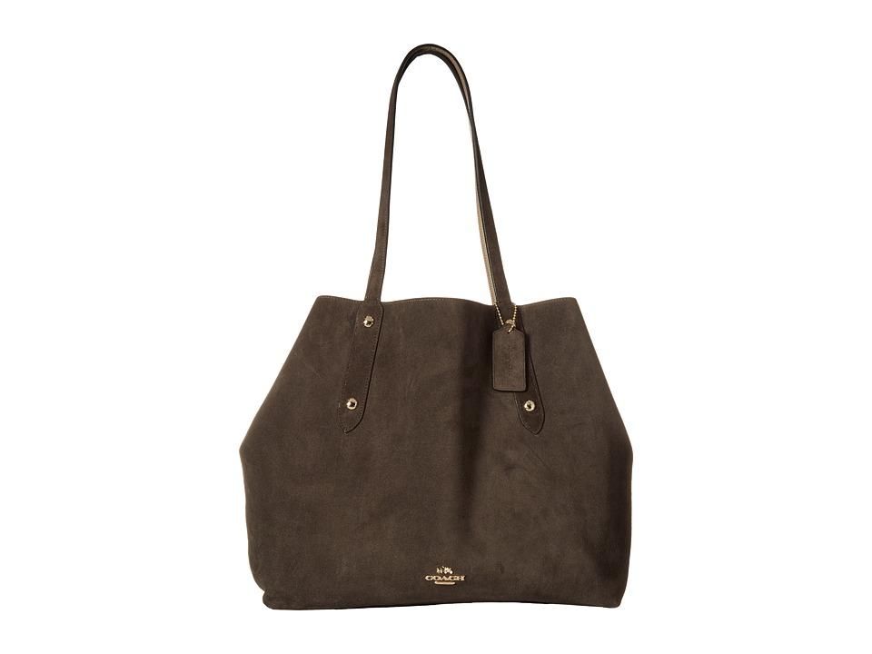 COACH - Suede Large Market Tote (LI/Chestnut Stone) Handbags