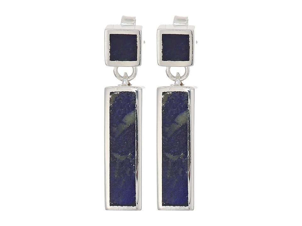 Shinola Detroit - Cass Inlay Drop Earrings With Lapis (St...